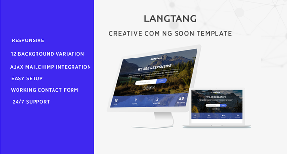 Langtang - Coming Soon Theme Forest Template