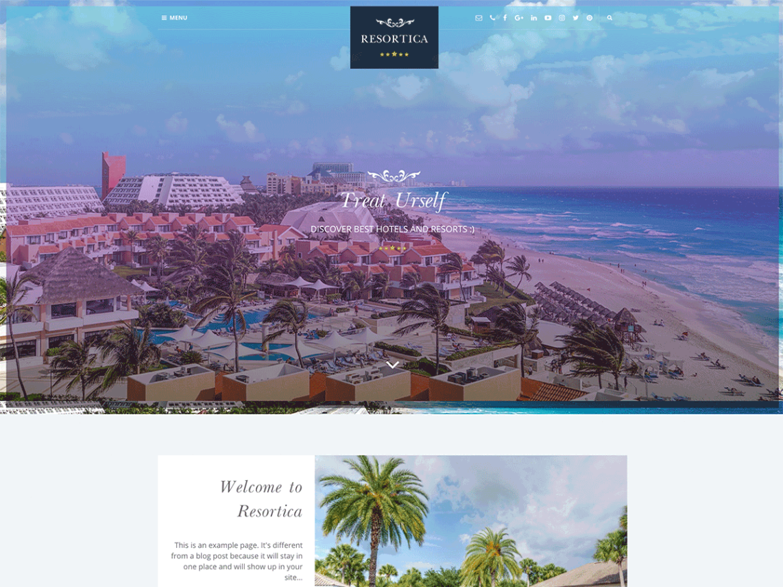 Resortica, Premium Hotel theme. WordPress hotel theme