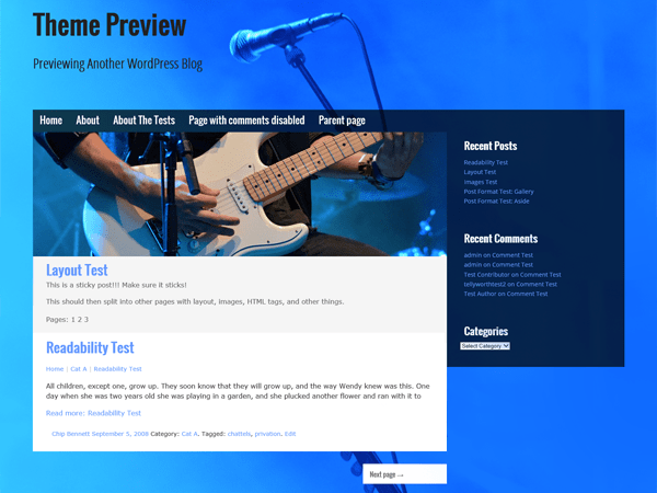 Musik, Free WordPress Theme for musicians