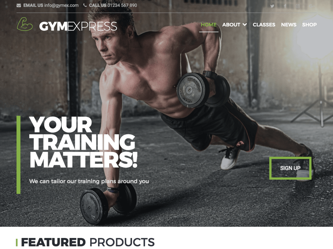 Gym Express, free fitness WordPress themes